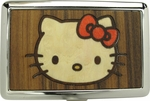 Hello Kitty Face Wood Panel Large Card Case