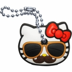 Hello Kitty Mustache Shades Key Cap Keychain