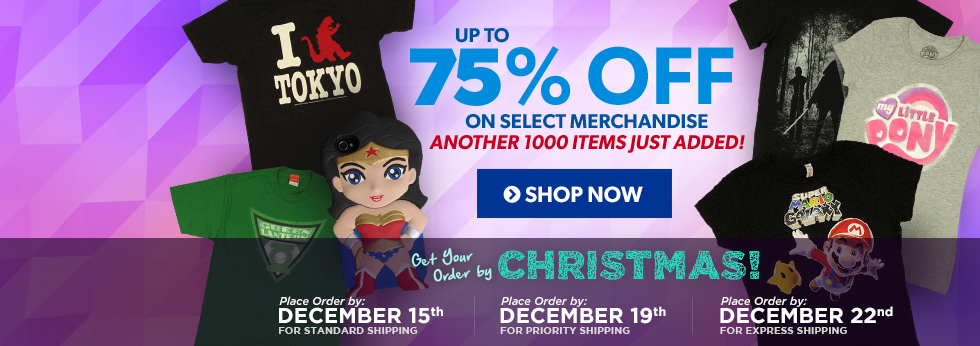 Up to 75% Off on Select Merchandise, Shop Now