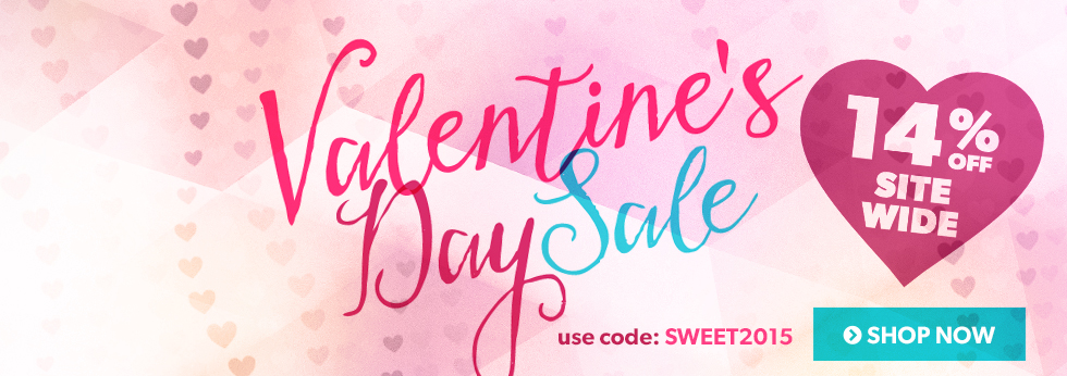 Valentine\'s Day Sale - 14% off sitewide. Coupon code: SWEET2015. Shop now!