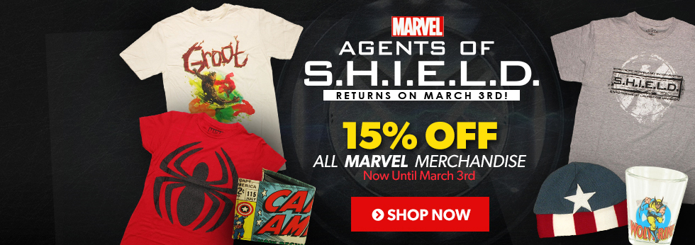 Agents of S.H.I.E.L.D. returns March 3rd. 15% off all Marvel merchandise. Shop now!