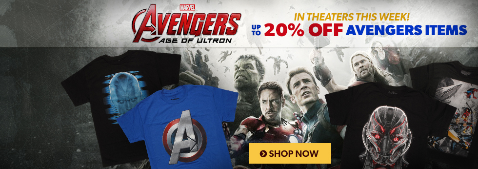 The Age of Ultron is upon us! Save up to 20% off Avengers items.