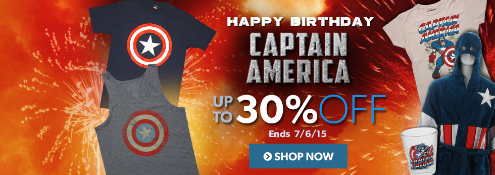 Happy birthday, Captain America! Up to 30% off Captain America items.
