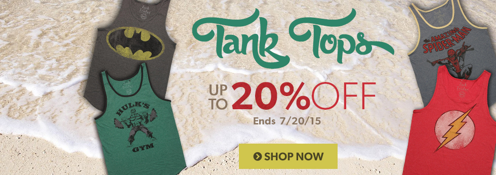 Tank Tops up to 20% off, Shop Now.