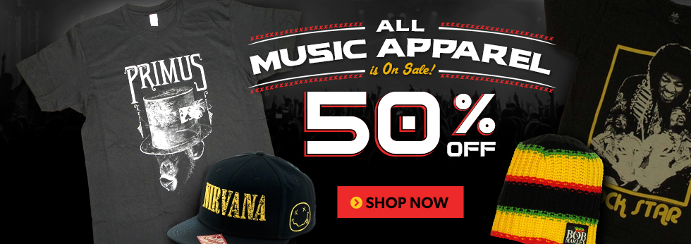Music: 50% off sale on Music items, Shop Now.