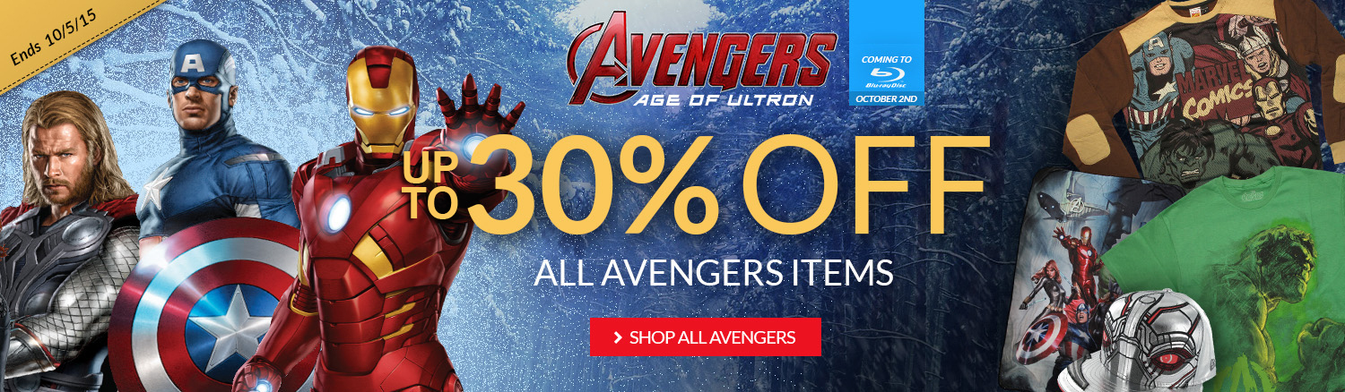 Age of Ultron on blu-ray 10/2/15: Up to 30% off Avengers items.