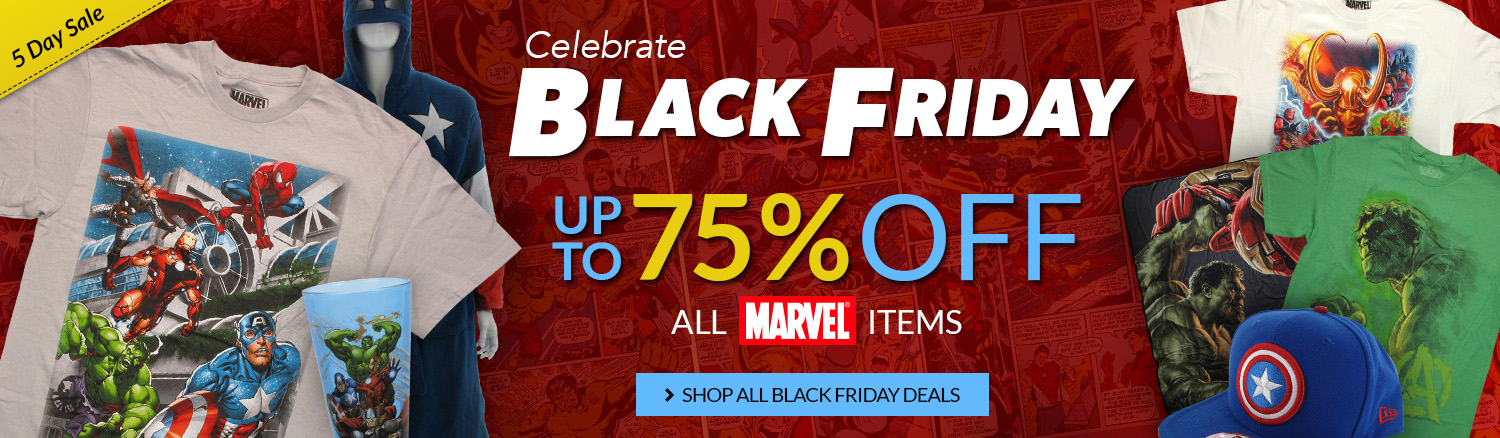 Black Friday sale on Marvel items, up to 75% off!