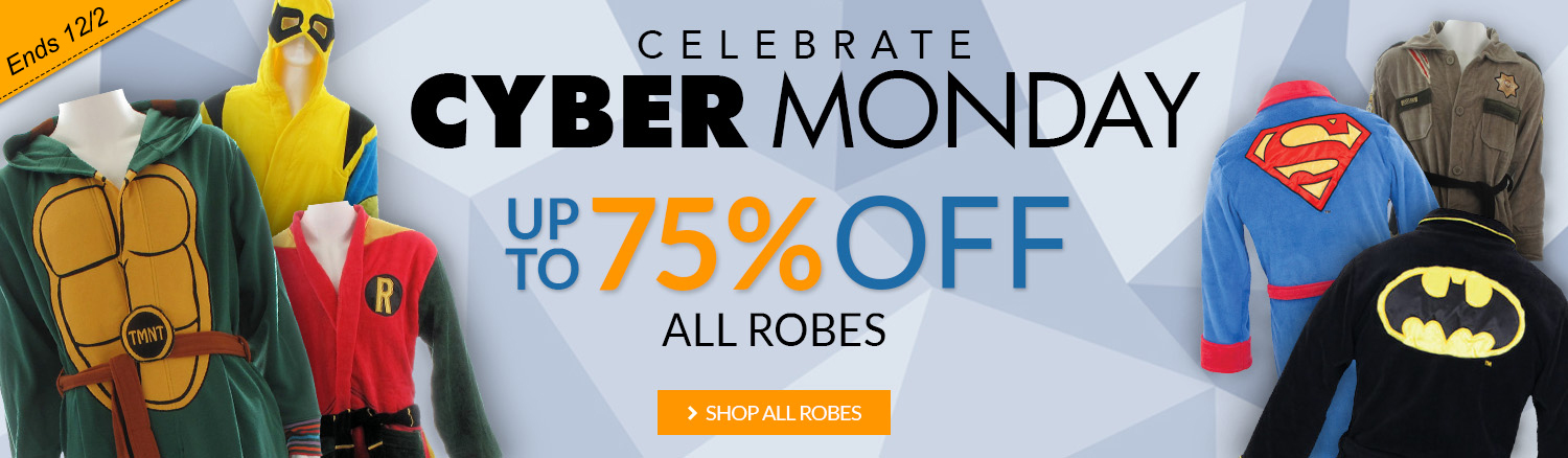 Cyber Monday sale on robes, up to 75% off!