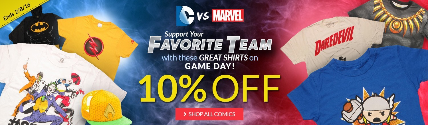 Here comes the Super Bowl! Pick your team! 10% off all regular priced comics items!