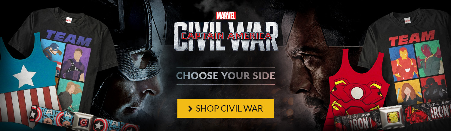 Captain America: Civil War in theaters now. Choose your side! Shop for Marvel Civil War gear.
