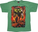 Incredible Hulk Armed Armored Green Youth T Shirt