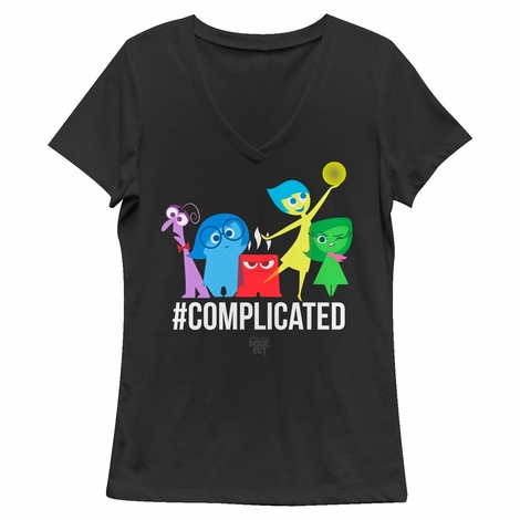 Inside Out Complicated V Neck Juniors T-Shirt