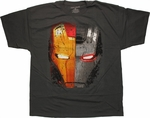 Iron Man 3 Split Face War Machine Charcoal T Shirt