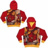 Iron Man Comic Panels Sublimated Overlay Juvenile Hoodie