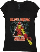 Iron Man Heavy Metal V Neck Baby Tee