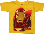 Iron Man Huge Face Yellow Toddler T Shirt