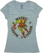 Iron Man Marvel Circle V Neck Baby Tee