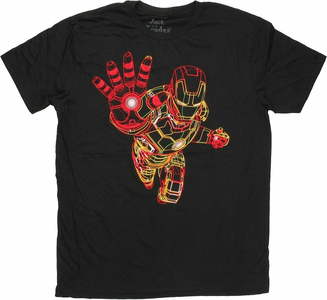 Iron Man Neon Wire Frame T Shirt Sheer
