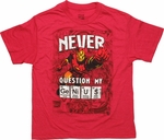 Iron Man Never Question Genius Youth T Shirt