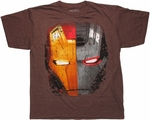 Iron Man Split Face Heather T Shirt Sheer
