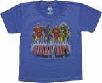 Iron Man Suit Up Lineup Blue Juvenile T Shirt