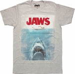 Jaws Vintage Poster Gray Heather T Shirt Sheer