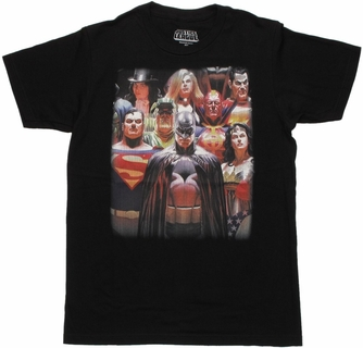 Justice League Alex Ross Heroes T Shirt Sheer