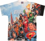 Justice League Angled Group Two Side Sublimated T Shirt Sheer