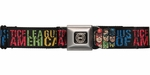 Justice League Faces Rectangles Seatbelt Belt