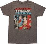 Justice League Four Hero Panel T Shirt Sheer