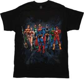 Justice League Original Lineup T Shirt Sheer