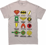 Justice League Pixel Logos T Shirt