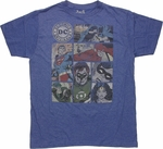 Justice League Seven Panels Blue T Shirt Sheer