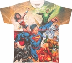 Justice League Team Sublimated T Shirt Sheer