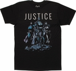 Justice League Trio Shadows T Shirt Sheer