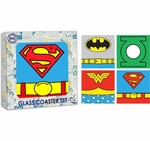 Justice League Uniforms Glass Coaster Set