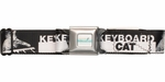 Keyboard Cat Name Black and White Seatbelt Mesh Belt
