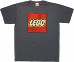 Lego Distressed Logo On Navy Heather T Shirt Sheer