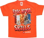Lego Ninjago Epic Skills Orange Juvenile T Shirt