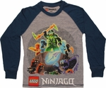 Lego Ninjago Snake Pit Raglan Long Sleeve Youth T Shirt