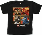 Lego Ninjago Square Action Black Youth T Shirt