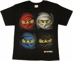 Lego Ninjago Swirl Faces Youth T Shirt