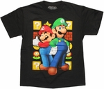 Mario Luigi Blocks Youth T Shirt