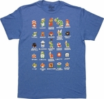 Mario Super Mario Bros Cast Blue T Shirt