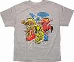 Marvel Comics Coming At You Heather Gray Youth T Shirt
