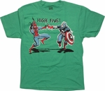 Marvel Comics High Five Green Youth T Shirt