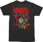 Marvel Hero Battle Stances Panels T-Shirt Sheer