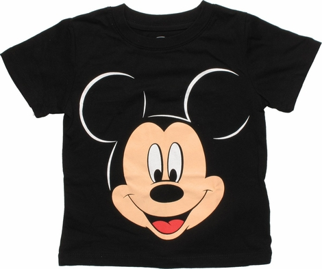 Mickey Mouse Head Black Toddler T Shirt