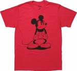 Mickey Mouse Mad Stance Red T Shirt Sheer