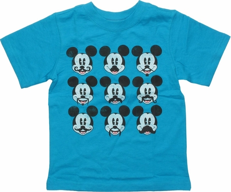 Mickey Mouse Many Mustaches Grid Teal Toddler T-Shirt